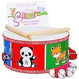 SCHMETTERLINE Trommel für Kinder aus Holz - Musikinstrument zum Trommeln und Umhängen mit Trommelbuch, Holz-Trommelstöcken und Glockenarmband für Kinder ab 3 Jahre