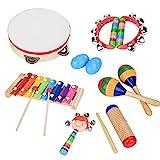 Hztyyier 13Pcs Musikinstrumente für Kinder, Trommel Kinder, Hölzerne Xylophon Schlaginstrumente für das Kindervorschullernen